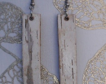 Long Earrings|Birch Bark|Natural Materials|Woodsy|Elegant|Gift for Her|Bridal|Handmade|Sustainably Harvested