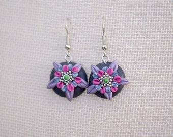 Polymer clay earrings, floral earrings, flower earrings, nature earrings, tender, romantic, boho style hippie, purple earrings, delicate