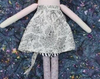 Cloth Doll With Short Brown Hair Bob