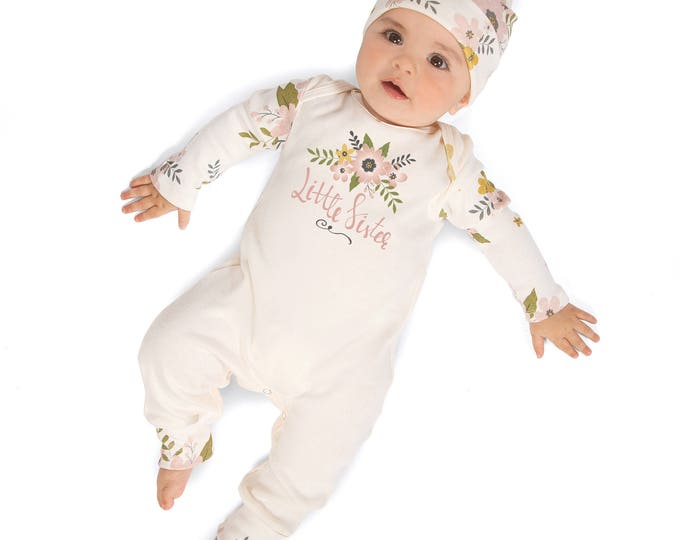 Little Sister Newborn Girl Coming Home Outfit, Infant Girl Outfit, Baby Girl Take Home Romper, Newborn Girl Outfit
