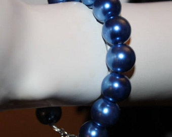 Blue Pearl Bracelet, Blue Pearl Jewelry, Blue Beaded Bracelet, Blue Beaded Jewelry, Pearl Jewelry Blue, Pearl Bracelet Blue, Blue Pearls
