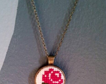 Red Rose Cross Stitch Necklace