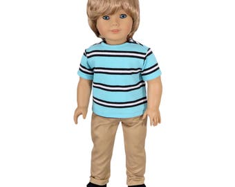Fits Like American Girl Doll Clothes.  Boy Doll Outfit.  Turquoise Striped Tee and Khaki Pants.