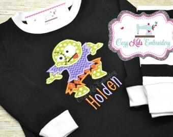 Halloween pajamas, Zombie Pajamas, Halloween pj, Zombie pj, Halloween Applique Embroidery, Zombie Applique Embroidery