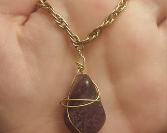 Wire wrapped amethyst pendant necklace / Floating Gem / Raw Stone / Purple Gem Necklace