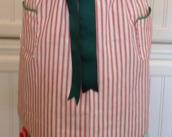 Vintage style apron skirt mix and match to a reversible button on bodice red ticking stripe green watermelon stripe green grosgrain ribbons