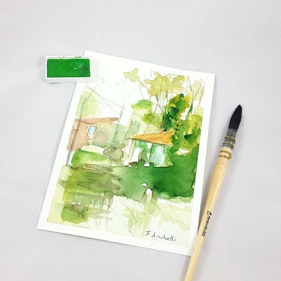 Landscape with houses and trees in the forest, copy of author, watercolor, lounge, living room, office, studio decoration, gift idea for men