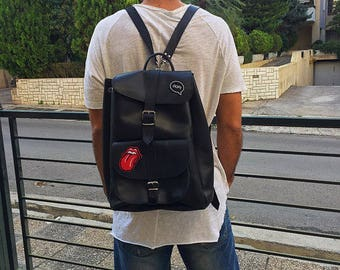 Travel Backpack, Black Leather Backpack, Leather Rucksack, Made in Greece from Full Grain Leather, EXTRA LARGE.