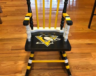 Pittsburgh Penguins kids rocking chair- pittsburgh penguins chair - NHL gift - hockey gift - pittsburgh penguins gift