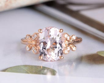 Rose Gold Morganite Ring Oval Cut Engagement Ring Diamond Halo Women Bridal Anniversary Gift For Her Art Deco Butterfly Shaped Inspire