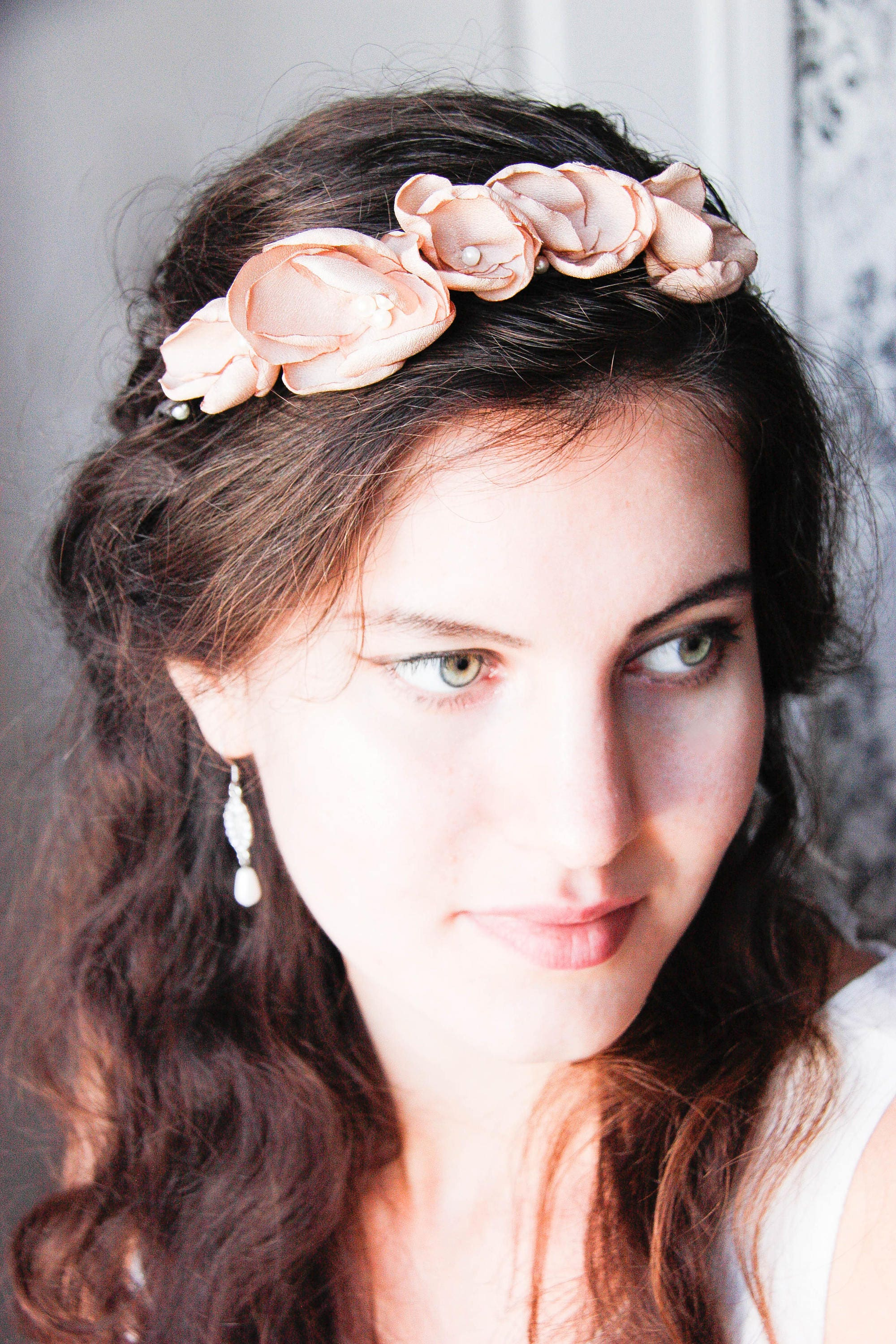 Wedding floral crown bridal flower crown ivory flower head piece wedding floral crown bridal flower crown ivory flower head piece flower girl tiara izmirmasajfo
