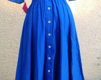 Deadstock Vintage 1940s Dress Shirt Style Swing Retro Pin Up Blue Nautical Dress Free US Shipping 80s Does 40s Dress
