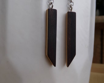 Earrings wood, wood jewelry, jewelry, laminated wood glued, recycling, variations