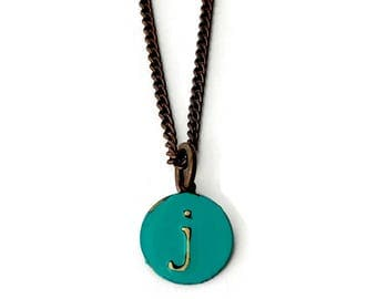 Small Letter-j-Necklace Organic Personalized Jewelry Delicate Charm Painted in Turquoise Brass Initial Necklace