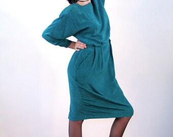Kenar Dress, 80s Polka Dot Dress M L, Teal Polka Dot Dress, 80s Silk Dress, Shoulder Pads, Midi Dress, Green Polka Dot Dress, Ann Tjian
