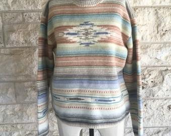 90s Ralph Lauren Sweater Vintage Ralph Lauren Southwestern Sweater Medium Desert Sweater Mock Turtleneck Indian Print Hand Knit Top