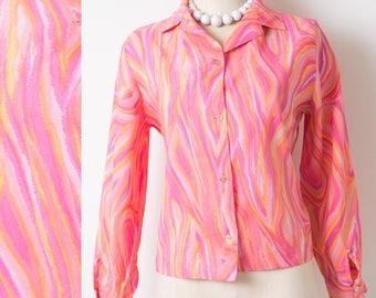 60s Top, Mod Top, Vintage pink top,  Mad Men top, Vintage Pink Orange Top, Vintage Pink Blouse - S/M