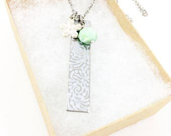 Bar Necklace, Silver Bar Necklace, Long Bar Necklace, Hand Painted Necklace, Unique Necklaces for Women Gift for Her, Heather Nicole Designs