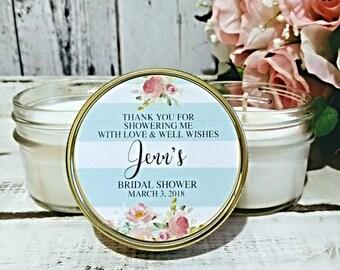 Bridal Shower Favor - Blush Gold Bridal Shower - Bridal Shower Candle Favor - Bridal Shower party favor - Soy Candle Favor - Set Of 12 4oz