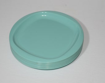 Vintage, MIRALYN, turquoise blue, Set of 6, lunch, plates, large rim, Mid century, Hard Plastic, Melamine, Dinnerware, Camping, Canada