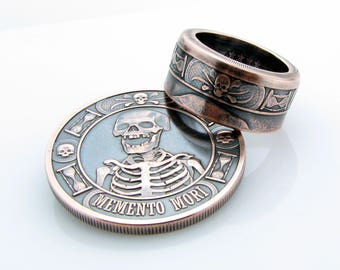 Memento Mori, Coin Ring, The Last Laugh, Handcrafted, 1oz .999, Pure Copper, Unique Ring, Skull, Cross Bone, Coin Jewelry, Mens, Band, Rings