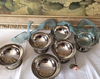 Vintage Set of Stainless Steel Dessert Ice Cream Dishes