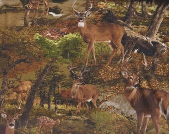 BTY TIMELESS TREASURES Deer in the Woods Print 100% Cotton Quilt Craft Fabric by the Yard
