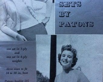 "vintage knitting pattern 1950's P&B 391 Raglan Twinsets 3 ply 4 ply 34-38"""