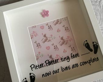 New baby picture frame, pitter patter tiny feet