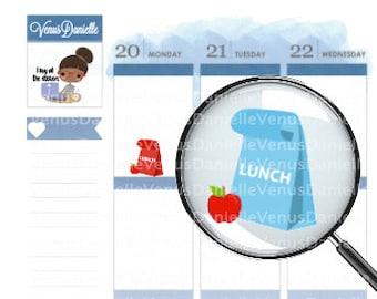 Lunch Bag Stickers, Lunch Planner Sticker