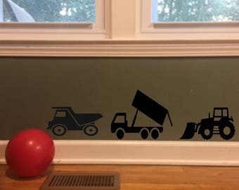 Gifts for boys, Truck decals, wall decals, dump truck, Fire truck, FREE SHIPPING, Black vinyl decal, boys room decor, home decor #256