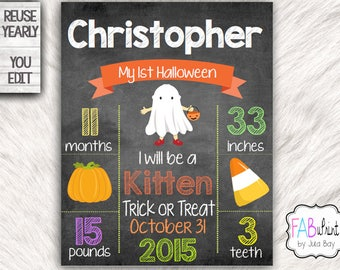Editable Halloween Chalkboard Sign, 1st Halloween, DIY Halloween Sign, Printable Halloween Photo Prop, Reusable Halloween Poster