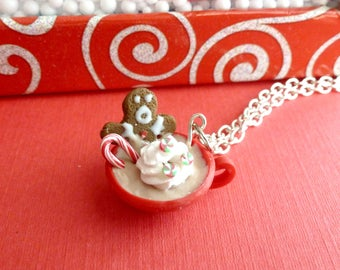 Gingerbread Man Hot Chocolate Miniature Food Jewelry Christmas Jewelry Polymer Clay Hot Chocolate