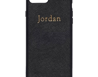 NEW PERSONALISED MONOGRAMMED iPhone 7 Plus Saffiano Leather Cover Case Black