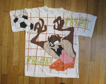 Rare Vintage Taz The Tasmanian Devil Soccer All Over Print T-Shirt Size XL 80s 90s