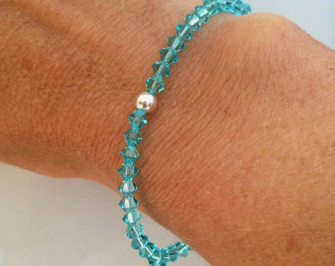Turquoise Swarovski crystal stretch bracelet with Sterling Silver or 14K Gold Fill bead December Birthstone jewelry gift