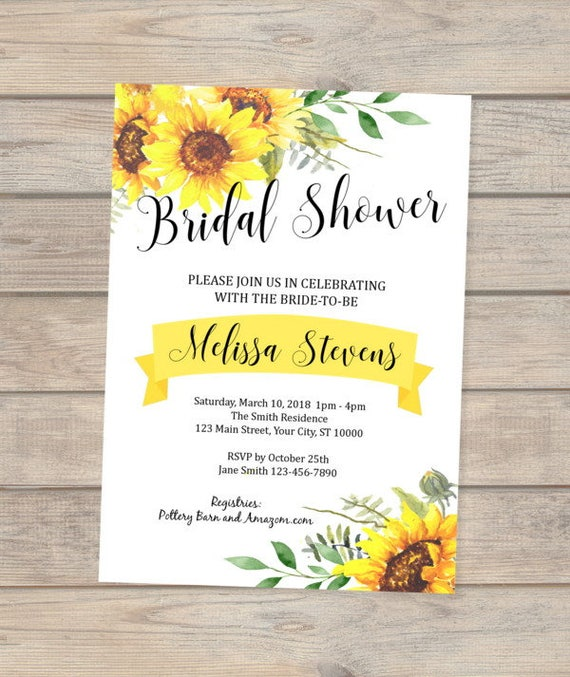 Sunflowers Bridal Shower Invitation Custom Sun Flowers Bridal