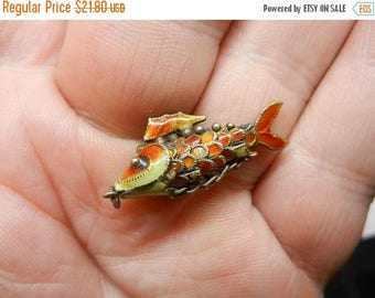 Summer Sale Vintage sterling Silver & Enamel Fish Charm