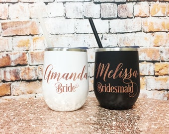 Bridal Party Wine Glass - Metal Wine Tumbler - Bachelorette Party Favors - Wine Glass - Rose Gold Wedding Bridal Party Favors Wedding Party