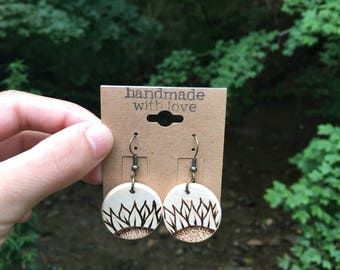 SUNFLOWER woodburned earrings