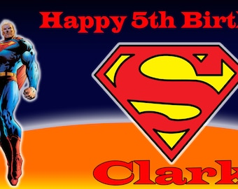 Birthday banner Personalized 4ft x 2 ft Superman