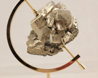 A BIG! 100% Natural PYRITE Crystal CUBE Cluster! With a Stand From Peru 601gr