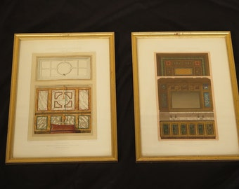 F44644EC: Pair French Architectural Prints In Gold Frames