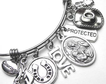 Horses & Equestrians Patron Saint St. Ann Catholic Holy Medal Charm Bangle Bracelet, Stainless Steel, Protected, Devotional Jewelry