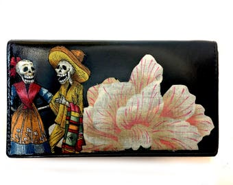 Leather Bifold Wallet Day of the Dead Skeleton Couple
