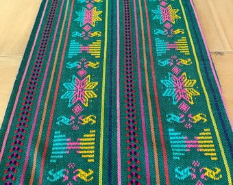 Mexican Table Runner, Custom Placemats, Woven Napkins Or Tablecloth. Washed  Green, Fiesta