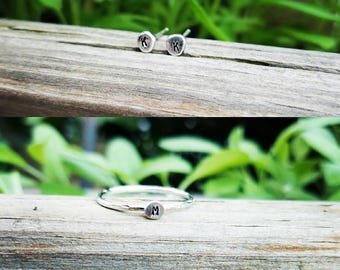 Sterling silver, initial, stacking ring, or earring set, gifts, personalized jewelry, gifts under 20
