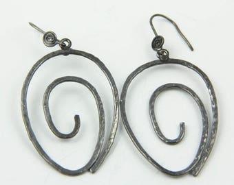 20% Off Black Glossy Earring || Oxide Spiral Earring handmade earring