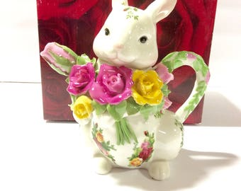 Easter bunny teapot etsy nib mint royal albert old country roses bunny rabbit teapot sculpted flowers roses easter home decor negle Choice Image