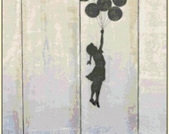 "CUSTOM ORDER Counted Cross Stitch Pattern chart pdf file - girl ballons by Banksy - street art - 13.36"" x 19.71"" - L1367"